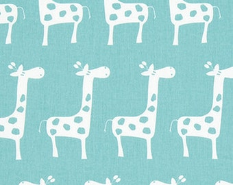 Nursing Pillow Cover - Light Aqua Giraffe and Minky Boppy Cover - Canal, Stretch