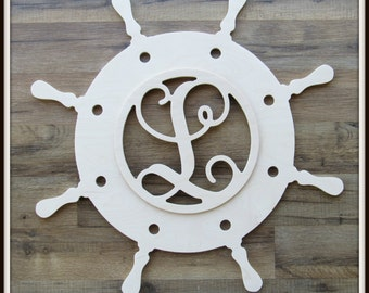 """Ships Wheel Door Hanger with Letter - Unpainted Wood - 22"""" size - Nautical Decor- Helm - Family - Wooden Letter - Wall Hanging - Monogram"""