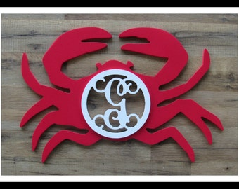 "Crab Door Hanger with Letter - Painted Wood - 22"" size - Kitchen or Dining Room Decor - Wood Letter - Wall Hanging - Monogram"