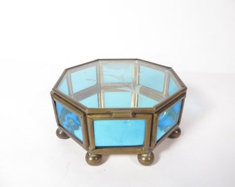 Vintage Turquoise Glass Brass Box - Octagon Etched Glass Box - Jewelry Casket