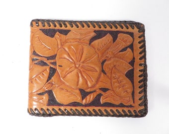Handmade Tooled Leather Billfold Wallet - Tooled Leather Wallet