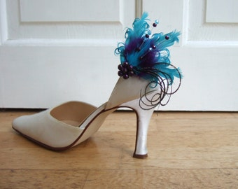 "Bridal Feather Purple Teal and Swarovski Crystals Shoe Clips / Bag Clips ""Okotoks"" (Pair) - 1 Day To Make"