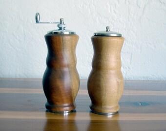 Vintage Midcentury Wooden Salt Shaker & Pepper Grinder