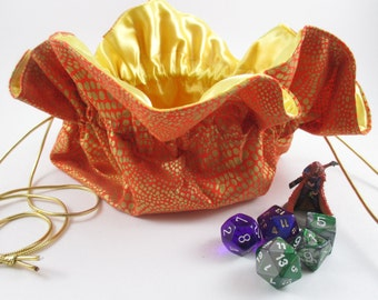 Orange and Gold Dragonscale Round Drawstring Bag, Dice Bag, Gift Bag, Small Size