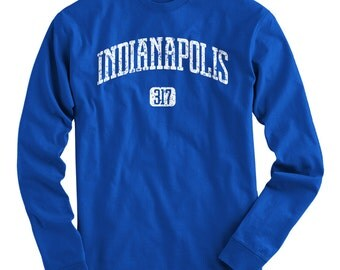 LS Indianapolis 317 Tee - Long Sleeve T-shirt - Men and Kids - S M L XL 2x 3x 4x - Indy Shirt, Indiana - 4 Colors
