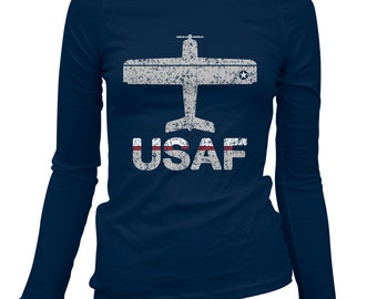Women's Fly USAF Long Sleeve Tee - US Air Force - S M L XL 2x - Ladies' Air Force T-shirt - 1 Color