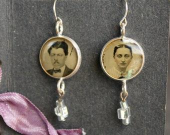 Earrings, tintype, antique