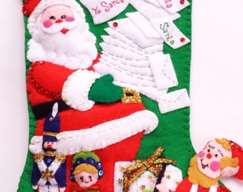 Santa Claus in his Workshop Completed Vintage Christmas Stocking