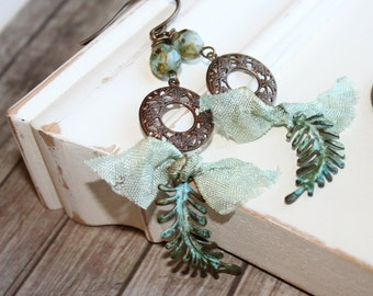 Shabby Boho Earrings, Blue Green earrings, Verdigris dangle earrings, Vintaj jewelry, Patina jewelry