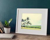 Afternoon Winds, Hawaiian Palm Trees View, Maui Seascape, 8x12 10x15 12x18 16x24 Fine Art Photography Wall Art Purples PinksHome Decor