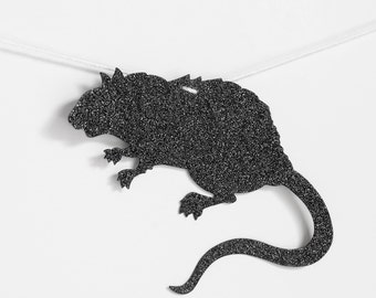 Black Rats Garland Glittered Creepy Fun Halloween Decoration. Gothic or Birthday Party Decor for Entertaining or Other Parties. 11 feet