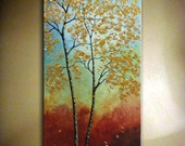 """Original Autumn Tree Painting Abstract Contemporary Large Artwork.Impasto.Palette Knife.Modern Autumn Tree Painting 24"""" x 48"""" ... by Nata S."""