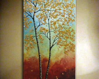 "Original Autumn Tree Painting Abstract Contemporary Large Artwork.Gold Autumn Tree Painting 24"" x 48"" Ready to Ship  by Nata S."