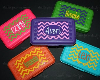 Pencil Box -CHEVRON Personalized Pencil Box/ Art Supply Holder - Back to School - Most Popular Back to School Gift - Assorted Colors/Designs