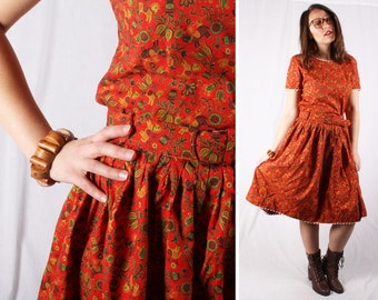 1960s Vintage Boho Folk Patterned Skirt & Crop Top 2pc Set / Size Medium