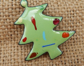 Copper Enameled Christmas Tree Brooch Circa 1960's  ~  Copper Enameled Brooch  ~  Christmas Tree Brooch  ~  Enameled Christmas Tree Brooch