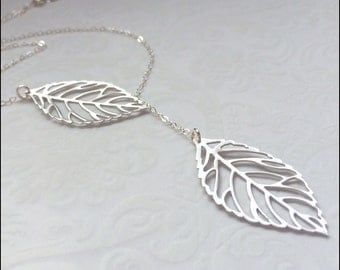 Silver Leaf Necklace, Leaf Lariat, Lariat Necklace, Leaves Silver Pendant, Everyday Wear Jewelry, Silver Jewelry, PERFECT Gift for Her