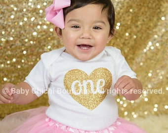 First birthday outfit girl Pink and gold birthday One gold glitter heart Birthday gold one First birthday glitter