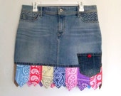 Bandana skirt, Patchwork skirt, Denim mini skirt, Festival clothing, Women's size 12, Blue Jeans skirt, necktie skirt, upcycled refashioned