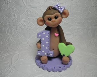 Personalized Baby Girl's First Birthday Monkey Cake Topper, Keepsake, Gift, Jungle Animal, Zoo Animal