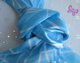 Vintage Two Tone Abstract Blue Polyester Long Neck Scarf Accessory