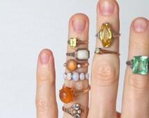 Vintage Fire Opal Ring. 10K Gold. Huge Gumdrop Stone. Size 7.5