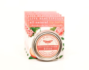 SUMMER SALE - Southern Peach Rose Lip Balm - All Natural - Ripe Peach and Rose Blooms