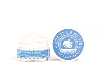 SUMMER SALE - Blueberry & Vanilla - Whipped Lip Butter - Natural Icing for Your Lips