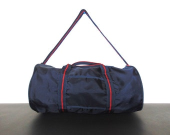 1990s Retro Nylon Duffel Gym Bag Blue and Red American Sports