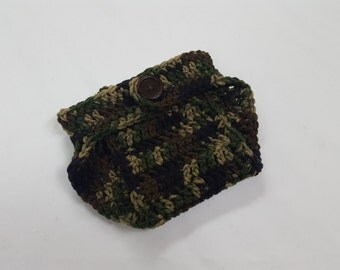 Crochet Camoflauge Baby Boy Baby Girl Diaper Cover, Photography Prop, Size Newborn and Infant – Camo