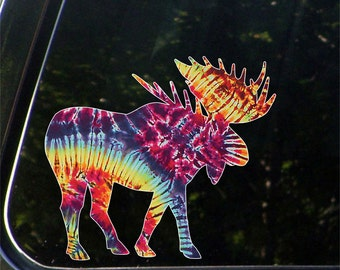 "CLR:CAR - Tie-Dye Rainbow Moose - White Outline - Contour Cut & Printed Car Vinyl Decal © YYDCo. (5.5""w x 5""h)"