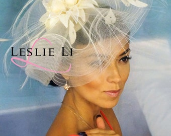 Leslie Li's Large Fascinator Headpiece with Feathers, Flowers, Netting Bridal Party Headpiece Bridal Party Ivory 22