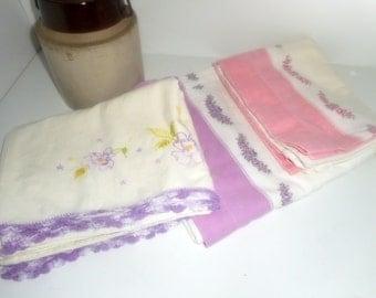 Vintage Pillow Cases, 3 Sets Pillow Cases, Feedsack Pillow Cases