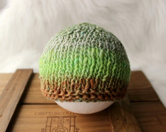 ready to ship, newborn photography prop-lux art yarn brown green beanie hat, newborn hat,soft to skin wool yarn, spring boy prop