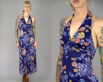 70s Halter Dress Bohemian Garden Floral Open Back Fitted Disco Nights Maxi Dress