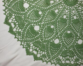 Dark Sage colored 24 inch round handcrochet pineapple lace doily tabletopper