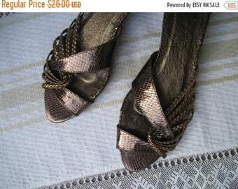 ON SALE: Vintage 90s Copper Peep Toe Sandals size 39 (EUR), 8.5 (Us)