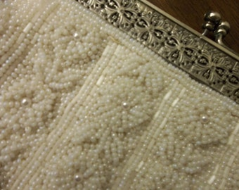 Vintage Hand Beaded, Purse..Wedding...Formal...Good Condition...FREE SHIPPING
