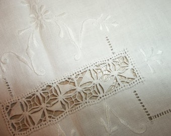 Antique Linen Tablecloth...Hand Embroidery...Hand made Lace...Good Condition...FREE SHIPPING