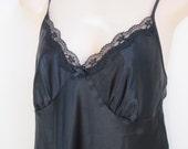 vintage black nightgown lace trim sexy lingerie  M