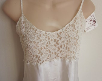 Silky white nightgown slip original tags sexy silky lace lingerie S