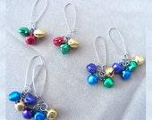 Long Christmas Jingle Bell Earrings, Handmade Original Fashion Jewelry, Bright Festive Holiday Jewelry, Playful Bold Statement Ladies Gift