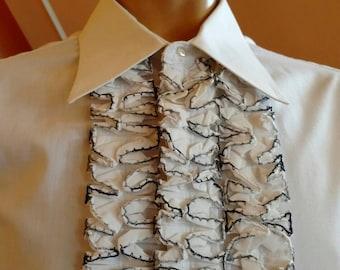 1980s Style Vintage Men's Ruffled White Tuxedo Dress Shirt