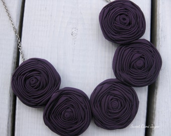 Rosette Necklace Bib Necklace Fabric Necklace Eggplant Purple Wearable Art Statement Necklace Unique Necklace Bridesmaid Necklace