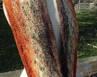 "KIT - ""New Directions"" Infinity Scarf Kit - orange spice/brown version"