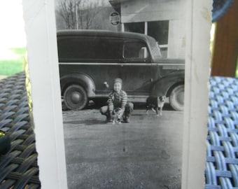 Notalgic Snapshot Photo - Boy - Puppy - Old Car and Pepsi Sign