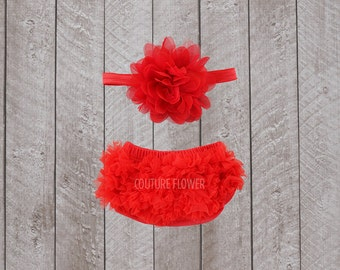 Baby Girl Ruffle Bottom Bloomer & Headband Set in Red - Newborn Photo Set - Infant Bloomers - Diaper Cover - Baby Gift - by Couture Flower