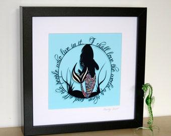 Square Love The World Mermaid Papercut Print • The Little Mermaid • Fairytale Wall Art • Paper Cut Quote