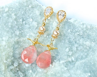 Pink 'Vintage-like' -Triple Tier STATEMENT Earrings-Dangle Earrings-Pink Pastel