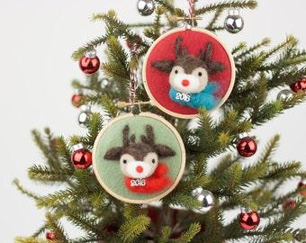Needle Felted Reindeer Christmas Ornament 2016 - Custom, Limited Quantity, Festive, Decor, Christmas Tree